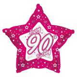 "Sternförmiger Folien-Ballon Happy Birthday ""Pretty Pink 90"" 45 cm"