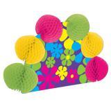 Tischdeko Retro Neon-Blumen mit Wabenpapier 25 cm