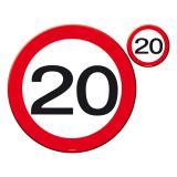 """Untersetzer-Set 20. Geburtstag """"Verkehrsschild """" 8-tlg."""