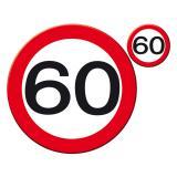 """Untersetzer-Set 60. Geburtstag """"Verkehrsschild"""" 30 cm 8-tlg."""