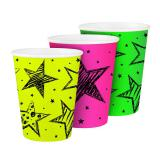 "UV Leucht-Pappbecher ""Neon"" 6er Pack"
