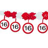 Wabenpapier-Girlande Verkehrsschild 16. Geburtstag 4 m
