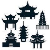 """Wanddeko """"Asiatische Pagoden"""" 6-tlg."""