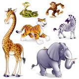 Wanddeko Konferenz der Dschungel-Tiere 6-tlg.