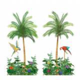 Wanddeko Palme mit Papagei 165 x 85 cm 2-tlg.
