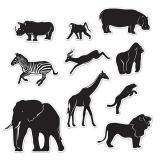 """Wanddeko-Silhouetten """"Tiere des Dschungels"""" 10-tlg."""