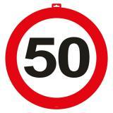 Wanddeko Verkehrsschild 50. Geburtstag 47 cm