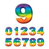 Wanddeko-Zahlen in Regenbogenfarben 3D 27 cm