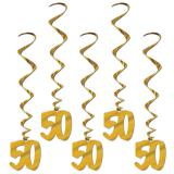 "Wirbel-Deckenhänger ""50"" gold 91 cm 5er Pack"