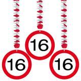 Wirbel-Deckenhänger Verkehrsschild 16. Geburtstag 3er Pack
