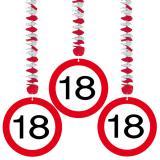 Wirbel-Deckenhänger Verkehrsschild 18. Geburtstag 3er Pack