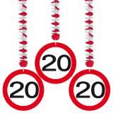 Wirbel-Deckenhänger Verkehrsschild 20. Geburtstag 3er Pack